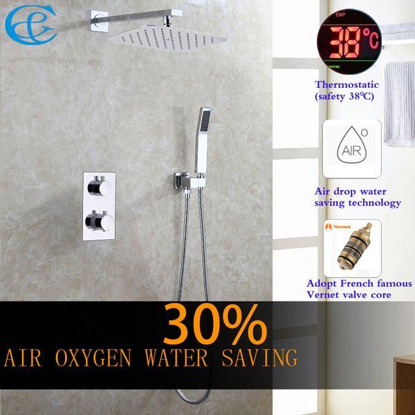 C&C Thermostatic Bathroom Shower Faucet Air Drop Water Saving Rain Shower Head All Metal Chrome Mixer Bath & Shower Set