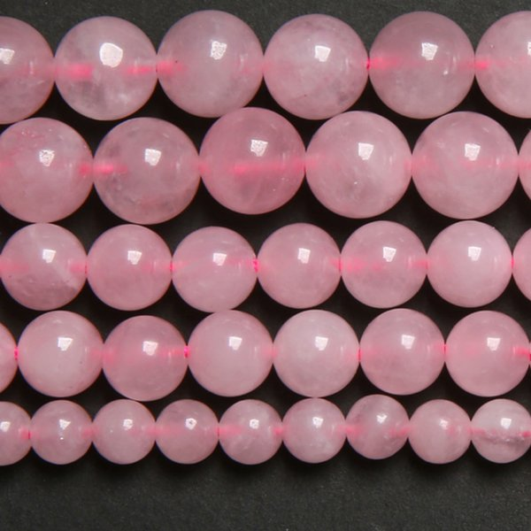 "8mm Rose Pink Quartz Crystals Loose Beads Stone 15"" Strand 3 4 6 8 10 12 MM Pick Size For Jewelry Making"