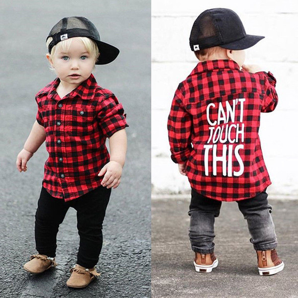 best selling 2018 Red Black Plaid Baby Boys Long Sleeve Shirt Kids Long Sleeve Blouse Casual Clothes Letter Print Preppy Casual Children Clothing 1-7T