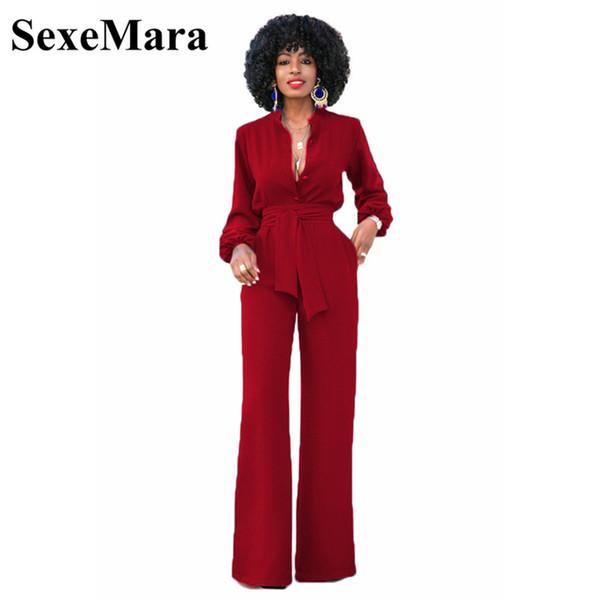 SexeMara vintage long sleeve jumpsuit sash wide leg pants romper elegant jumpsuits for women 2017 autumn winter overalls D31AG62