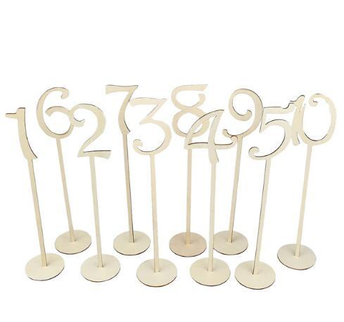 Wholesale-10pcs set Hot style Wooden wedding supplies wedding Place holder table number figure card digital seat Decoration