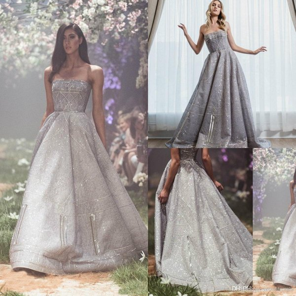 Paolo Sebastian Evening Dresses Long Bling Sequins Strapless Sweep Train A Line Quinceanera Dress Party Wear Charming Elegant Prom Gowns