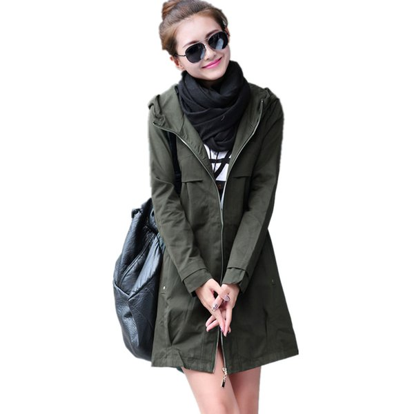 New Fashion Plus Size Women Coat 2018 Spring Autumn Casual Hooded Long Trench Coat Female Slim Solid Thin Outerwear C248