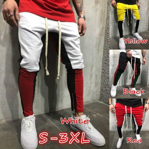 Мужская повседневная тренировочные брюки мода цвет соответствия повседневные брюки брюки ноги молния шаровары новый Оптовая