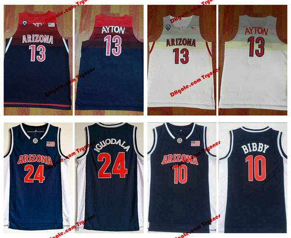Hommes Arizona Wildcats 13 DeAndre Ayton Collège Basketball Jersey 10 Mike Bibby 24 Université d'Andre Iguodala Cousu Jersey