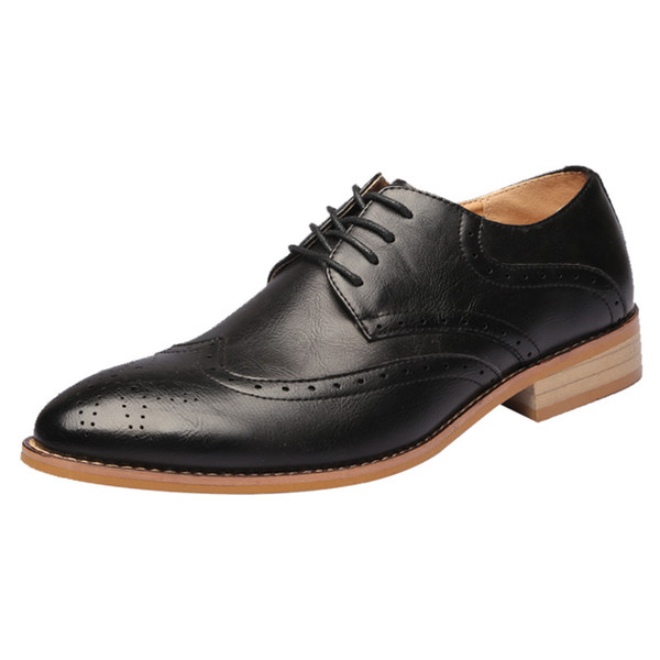 Size 37-45 Men Formal Shoes Leather Black Office Business Driving Oxford Shoes For Men Elegant Wedding Mens Pointed Toe Dress Shoes Brogues
