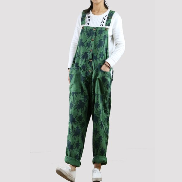 2018 Summer Korean Fashion Plus Size Overalls Loose Wide Leg Pants Women Green Pink Blue Washed Leaves Print Jumpsuits