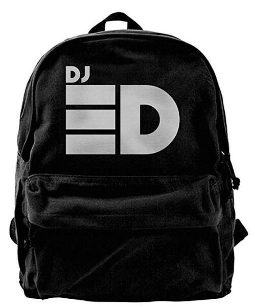 DJ Logo Canvas Shoulder Backpack Travel Backpack For Men & Women Teens College Travel Daypack Black