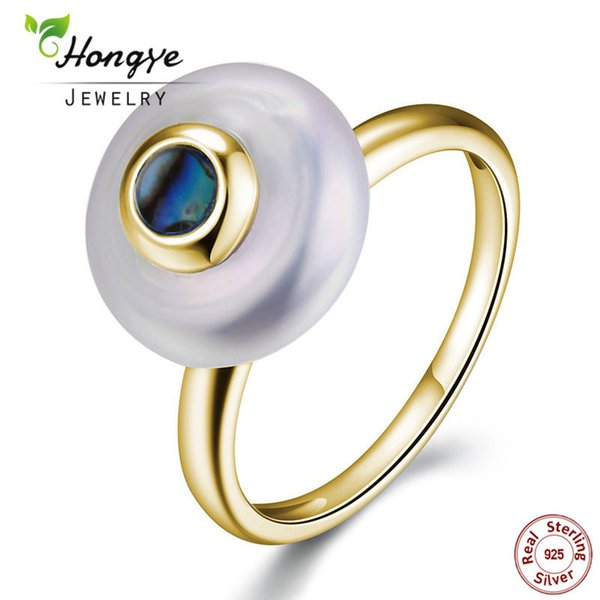 Hongye Hot 100% Natural Pearl Rings 925 Sterling-silver-jewelry, Oblate 2.5CM Freshwater Pearl Ring ,Party Gift,Free Shipping Y1892606