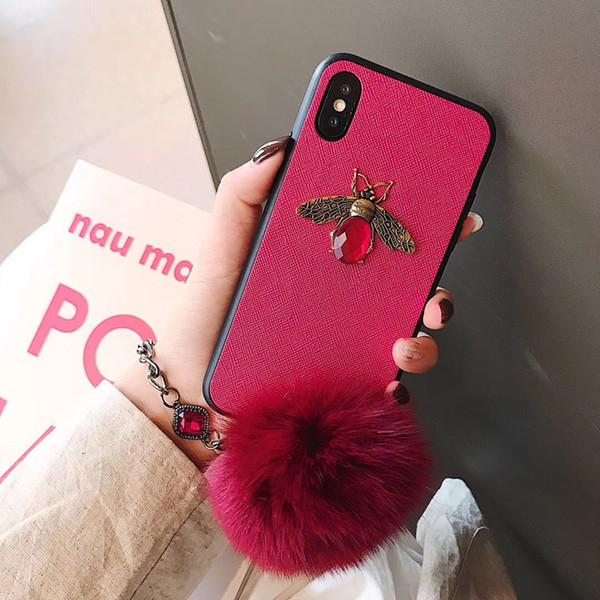 YunRT Luxury fashion brand 3D diamond honey bee sexy bracelet fox fur ball soft hard phone case for iphone 6 S 7 8 plus X XS Max XR cover