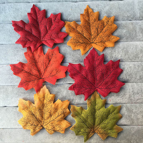 100PCS/lot 8cm Artidicial Silk Maple Leaves Fake Fall Leaf For Art Scrapbooking Wedding Party Decoration Craft Flores