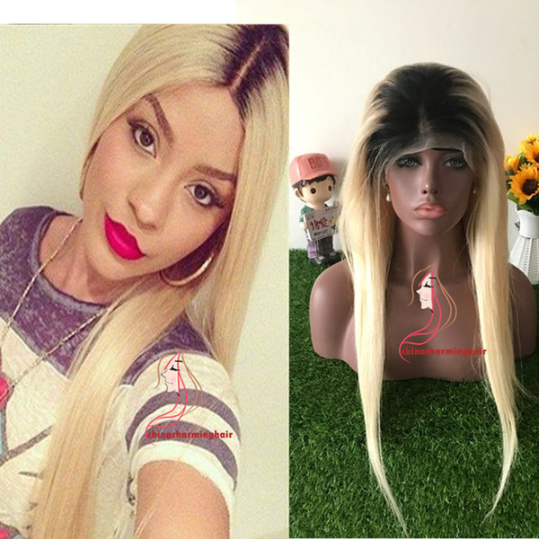 Straight 1b 613 Lace Front Wigs Remy Human Hair with Baby Hair Ombre 1B 613 Dark Roots Blonde for Black Women