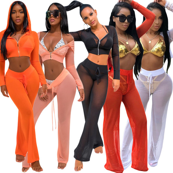 2018 NEW Summer Womens Sexy Mesh Sheer Swimming Tracksuit 2Pcs Crop Tops With Hoodie Long Pants Beachwear Bikini Cover Ups Bathing Suit