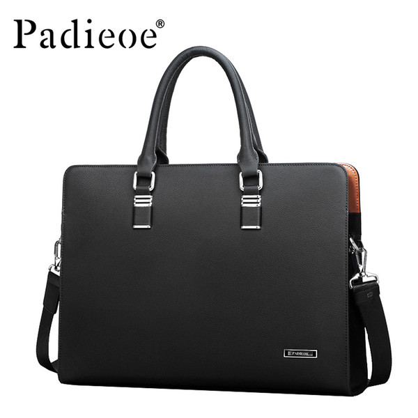 Padieoe Luxury Brand Genuine Leather Men Laptop Bag Briefcase Fashion Men's Business Bags Casual Leather Messenger Bag for Men S921