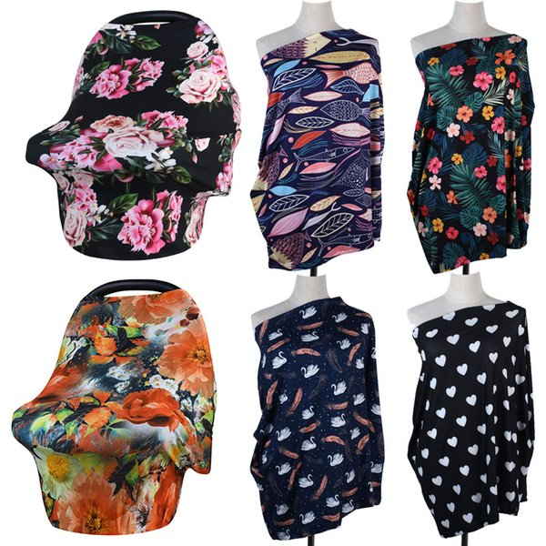 2018 New Baby Printed Nursing Cover,Car Seat Canopy,Shopping Cart, High Chair, Multi Use Breastfeeding Cover Up Stroller Carseat