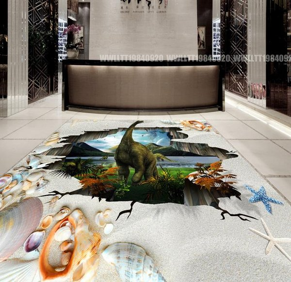 wallpaper pink Original outdoor dinosaur 3D three-dimensional painting floor tiles wall papers home decor 3d