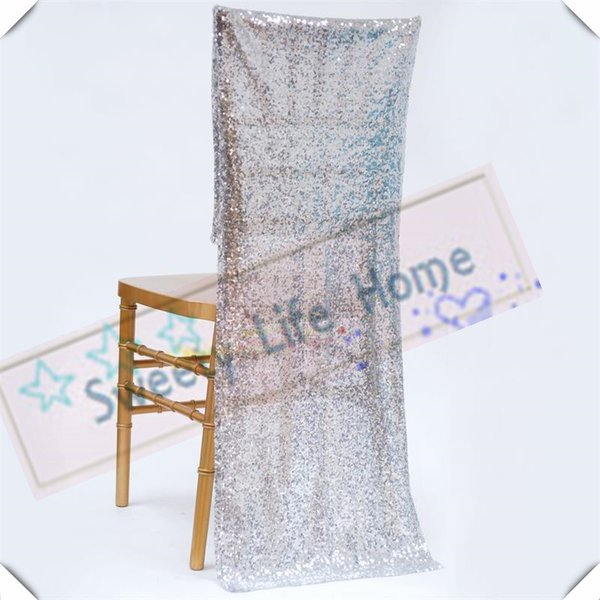 Free shipping Sequin chiavari chair covers/Silver Glitz Banquet chair cover/seats for wedding and party outdoor chairs decorations