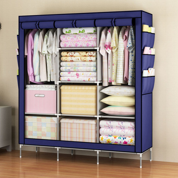 Simple Clothes Closet Portable Wardrobe Storage Organizer with Shelves Multilayer Sturady Durable Construction Storage Cabinet