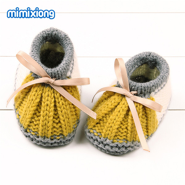 Newborn Baby Knitted First Walkers Booties Spring Autumn Infant Boys Girls Crochet Shoes Winter Warm Toddler Crib Boots Handmade
