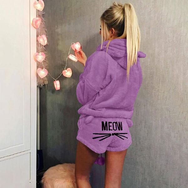Nuevas mujeres Coral Velvet traje de dos piezas otoño invierno pijamas ropa de dormir caliente lindo Cat Meow patrón Hoodies Shorts Set alta calidad