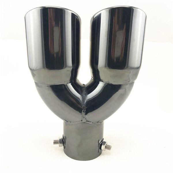 Embout d'échappement double en acier inoxydable noir de 2,5 po de tuyau d'échappement de silencieux d'automobile