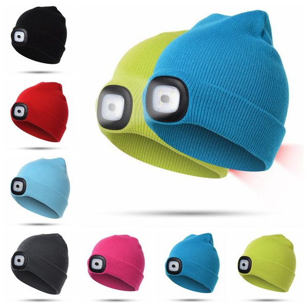 7 Colors LED Light Warm Hat Battery Type Winter Beanies Fishing Camping Cap Knitted Hat Camping Outdoor Crochet Hat CCA10459 30pcs