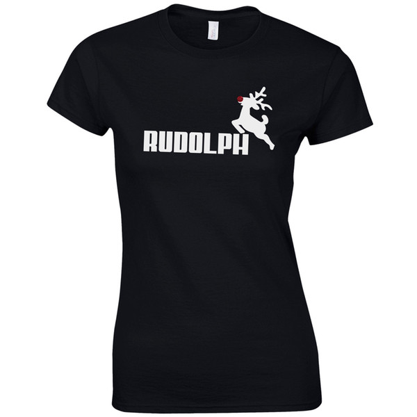 Women's Tee Rudolph Ladies Fitted T Shirt - Christmas Reindeer Rudolf Glitter Nose Gift Top Fashion Brand Hipster Slim Top