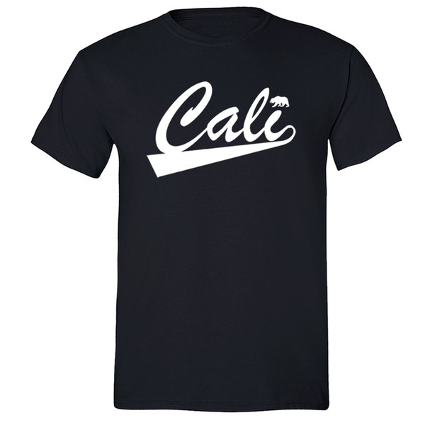 Fashion Men Tshirt California Republic State T Shirt Summer Flag Bear West Side Cali Tshirt Black O Neck T Shirt