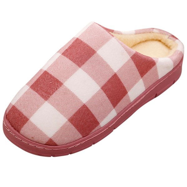 Winter Women Casual Sneakers For Home Slippers Terlik Soft Floor Plaid Male Indoor Cotton Shoes Pantuflas Warm Plush Slipper #TF
