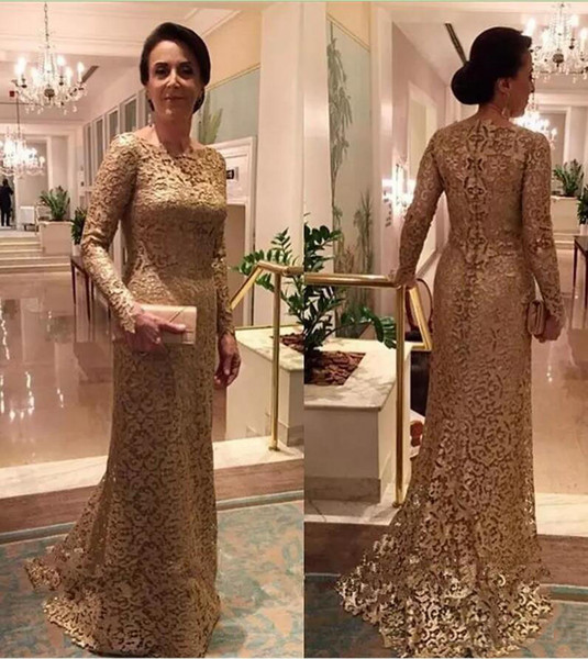 Full Gold Lace Long Sleeves Evening Dresses Sweep Train Zipper Sheath Prom Dress Custom Made Formal Party Gowns Mother Of The Bride Dresses