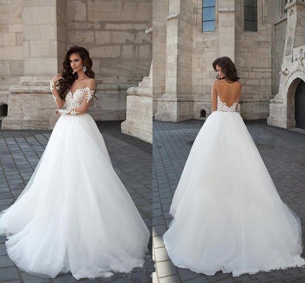 2019 Sheer Crew Neck Illusion Long Sleeves Wedding Dresses Designer Backless Appliques Party Formal Bridal Gowns Vestidos De Novia