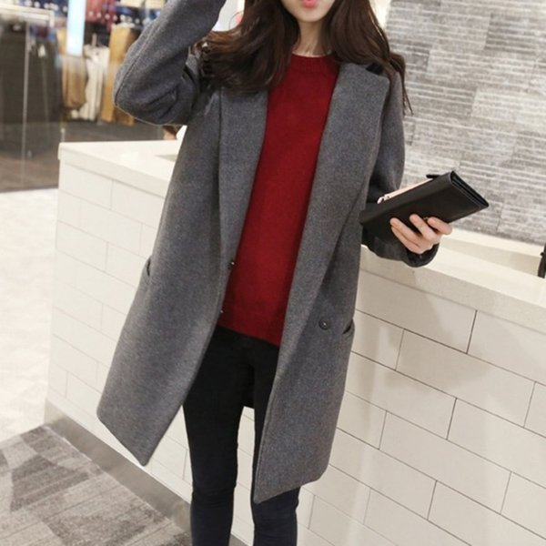 Long-sleeved Slim Medium Length Woolen Overcoat Women Autumn Warm Coats with Tailored Collar Grey Double-breasted Cotton Topcoat L18100706
