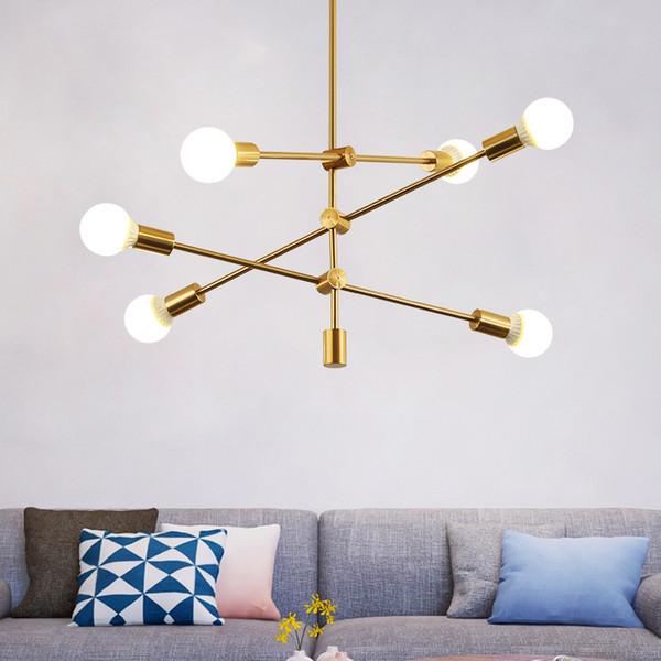 Ceiling hanging light lamp gold droplight post modern adjustable linear line gold chandelier light lamp for living dinning room