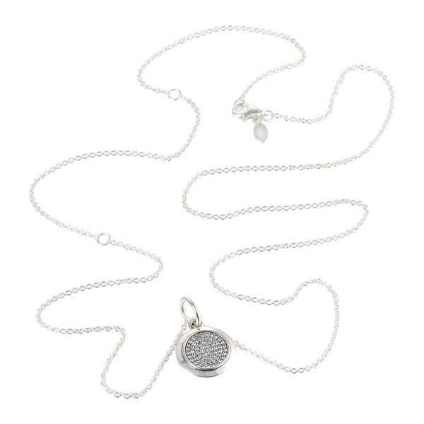 PAN Signature Round Pendant Pave CZ Necklace Chain Length 68CM 925 Sterling Silver Jewelry Pendant Necklace For Women Fashion Y1892805