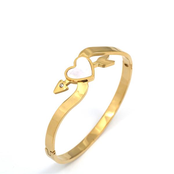 pz jewelry Shell & Stainless Steel Bangle Elegant Heart Love Style Trendy Women Bracelet For Daily Dress Sale