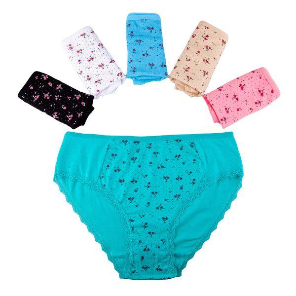Underwear Women Sexy Plus Size Floral Print Panties Ladies Underpants Mid Rise Briefs For Women Cotton Female 5Pcs/Lot