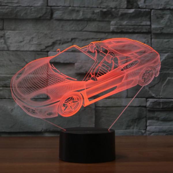 Lampada di tocco di carica di carica di carica di figura di trattore di forma di automobile di luce di decorazione di 3D 7 bambini di novità caldi di luce di notte di bambini colorati Dropshipping all'ingrosso