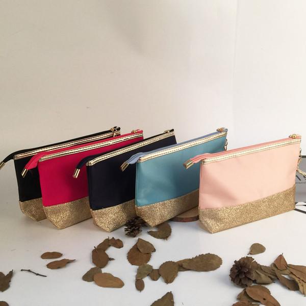 24.5*15cm Glitter Patchwork Cosmetic Bag Wholesale Blanks Triangle Glitter Wristlet Clutch Gold Makeup Bag DOMIL106862