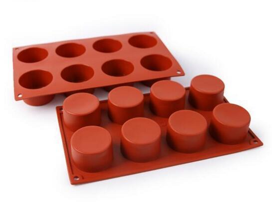 Hot 100pcs 8 Holes Round Silicone Cake Mold 3D Handmade Cupcake Jelly Cookie Mini Muffin Soap Maker DIY Baking Tools