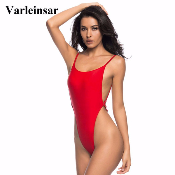 Wholesale-Bather 2017 Sexy high cut one piece swimsuit Backless swim suit for women Swimwear thong Bathing suit female Monokini V478