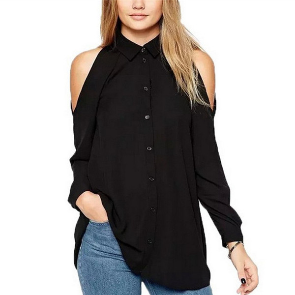 top popular women clothes off shoulder long shirts sexy chiffon tops turn down collar button blouse Blusas Femininas Full sleeve casual YFF 6136 2019