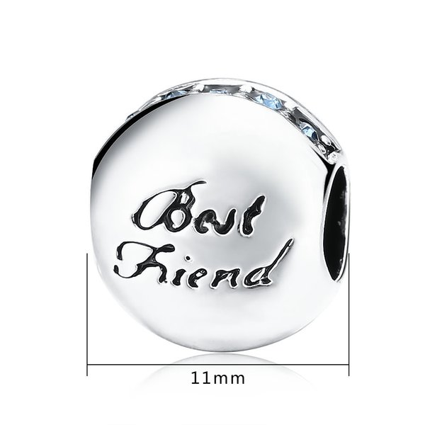 New 925 Sterling Silver Letters Of Best friend Alphabet Charms For DIY Jewelry Making Fits Pandora Style Charm Bracelets