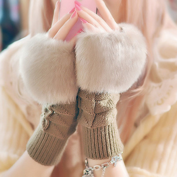 1Pair Fashion Women Faux Rabbit Fur Hand Wrist Crochet Knitted Fingerless Gloves Knitting Mittens Winter Autumn Warmer D18110806