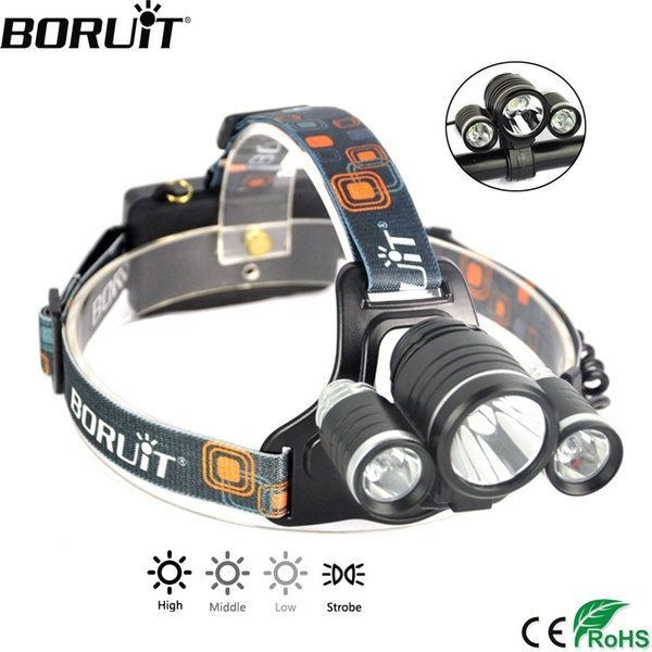 BORUiT RJ-1155 XML T6 LED Headlamp 4-Mode IPX6 Waterproof Headlight Bicycle Light Head Torch Camping Hunting Frontal Lantern