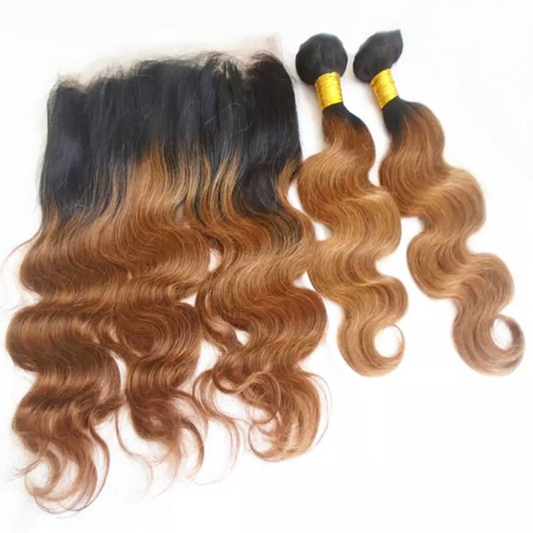 Ombre 360 Lace Frontal With Human Hair Bundles Two Tone Brazilian Body Wave Virgin Hair Weaves And Full Lace Closure T1b/30