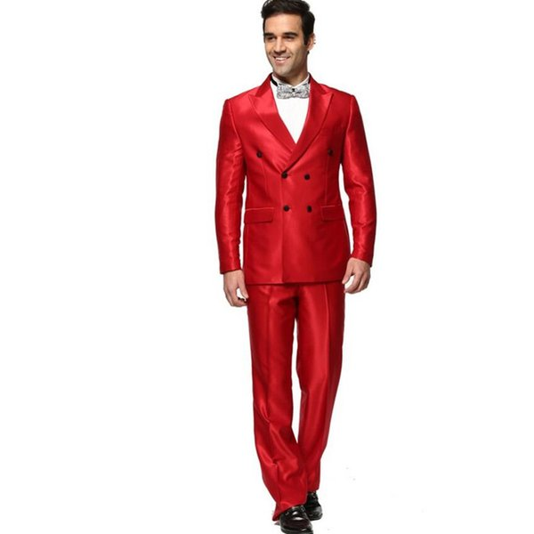 Custom red men's suit two-piece suit (jacket + pants) men's business casual double-breasted guns collar collar suit wedding groom dress