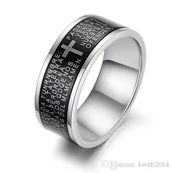 JEWELRY Religious Cool Men Cross Ring The Bible Cross Finger Rings Carved Scriptures And Cross Mark Free Shipping 279