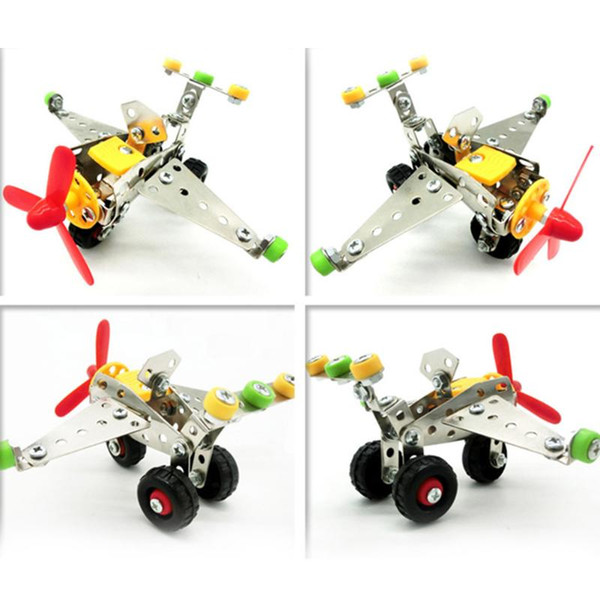 best selling Metal Airplane Assembly Toy Aircraft Model Children DIY Creative Intelligence Toy Kids 3D Metal Assembly Building Blocks