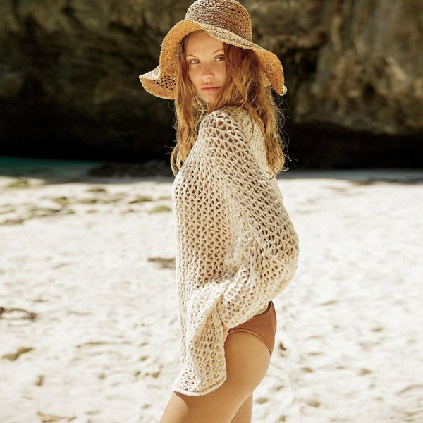 Jastie Loose Casual Knit Jumper Hollow Mesh Sweater Pullovers Top Batwing Sleeve Beach SwimWear Bikini Blouse Sunscreen Shirt