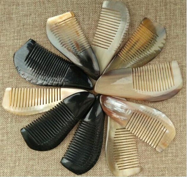 50pcs Useful OX Horn Combs Pocket Tool Straight Hair Comb Natural Health Massage Brush Portable Handmade Craft Gift X097